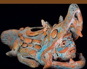 Maya crocodile effigy